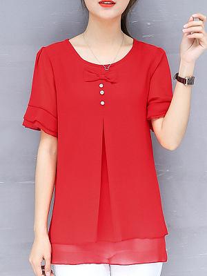 Spring Summer Chiffon Women Round Neck Asymmetric Hem Flounce Decorative Button Plain Short Sleeve Blouses