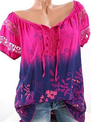 Buy Blouses online shop, online sale from Berrylook Apparel & Accessories>Clothing>Shirts & Tops, Berrylook Summer Blend Cotton Women Tie Collar See-Through Floral Printed Short Sleeve Blouses is well made of Blend and it\\\'s features are: length:66,shoulder:41,sleeve length:19,bust:92 (in inches). Find best shirts for women, shirts & tops at Berrylook.com