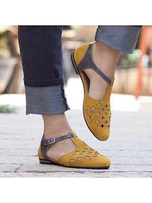 Color Block Hollow Out Flat Round Toe Casual Comfort Flats, 6311788