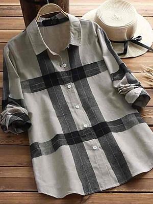 Lapel Patchwork Brief Plaid Long Sleeve Linen Blouse, 8425545