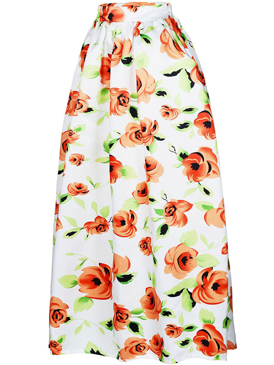 Absorbing Floral Printed  Flared Maxi Skirt