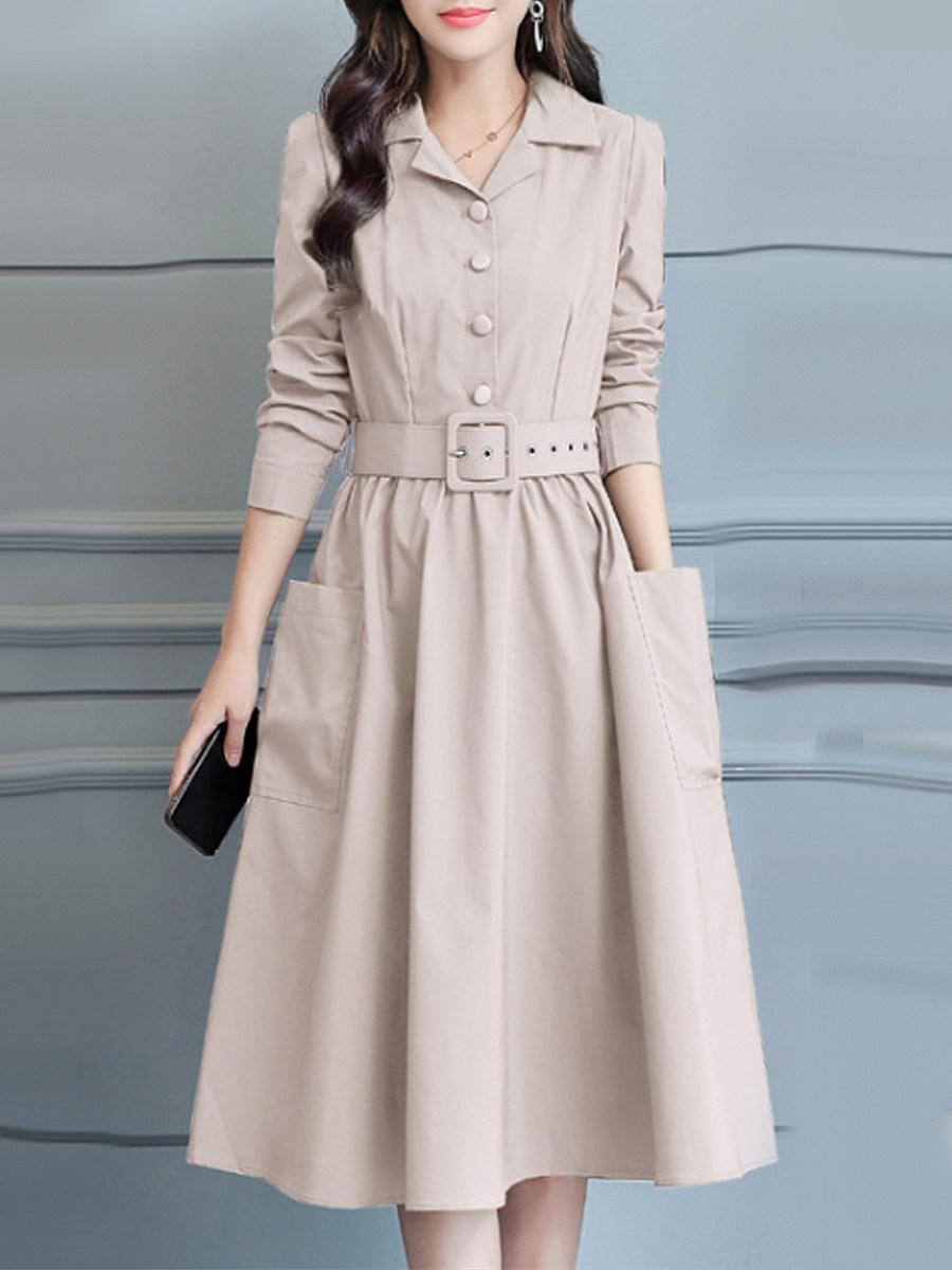 Fold-Over Collar Single Breasted Slit Pocket Skater Dress