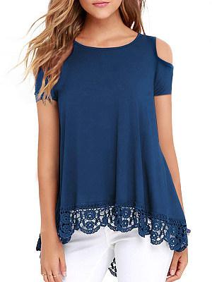 Round Neck Cutout Patchwork Lace Plain Short Sleeve T-Shirts, 6948241