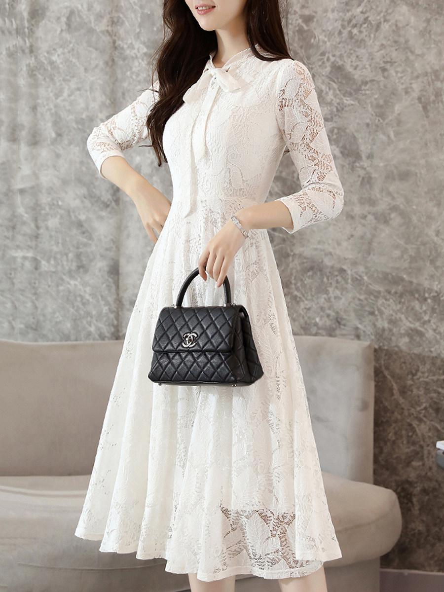 Tie Collar Hollow Out Plain Lace Maxi Dress