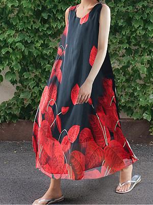Round Neck Print Maxi Dress, 7136194
