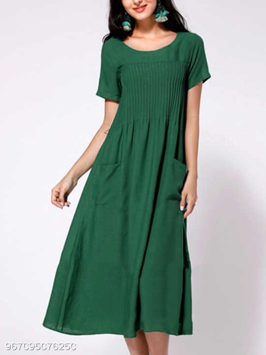 3e34fe4bd5 Round Neck Patch Pocket Plain Cotton/Linen Maxi Dress - berrylook.com