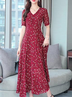 V Neck Print Maxi Dress, 7161395