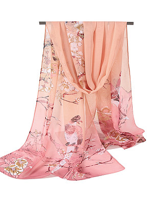 Berrylook coupon: Chiffon Floral Bird Printed Scarves