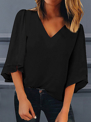 V Neck Patchwork Plain Blouses, 7160229