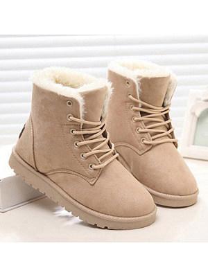 Plain  Flat  Velvet  Round Toe  Date Outdoor  Short Flat Boots