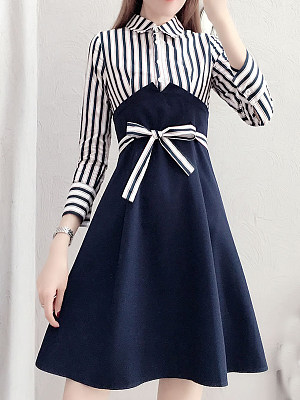 Button Down Collar Color Block Striped Shift Dress
