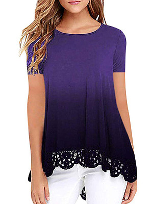 Round Neck Loose Fitting Patchwork Gradient Lace Short Sleeve T-Shirts, 6946011