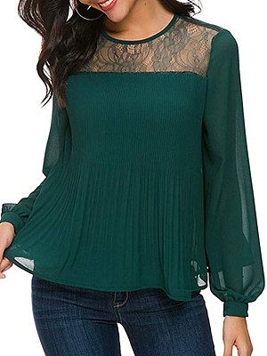 Autumn Spring Cotton Women Round Neck Decorative Lace Ruffled Hem Plain Long Sleeve Blouses