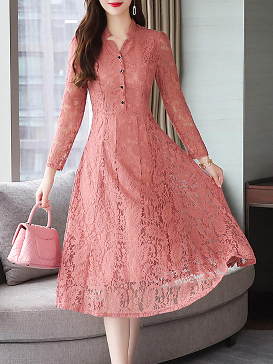 V Neck Single Breasted Lace Plain Maxi Dress
