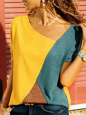 Round Neck  Loose Fitting Patchwork  Color Block  Batwing Sleeve Short Sleeve T-Shirts