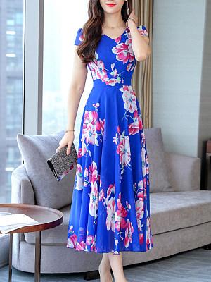 V Neck Floral Printed Maxi Dress, 7161290