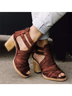 Plain Chunky High Heeled Peep Toe Date Travel Platform Sandals, 6957257