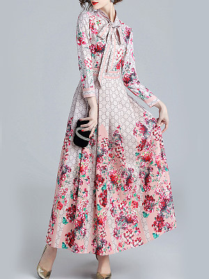 Tie Collar Floral Printed Maxi Dress, 8502211