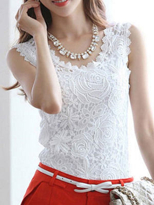 Spring Summer Cotton Women Round Neck Lace Sleeveless Blouses фото