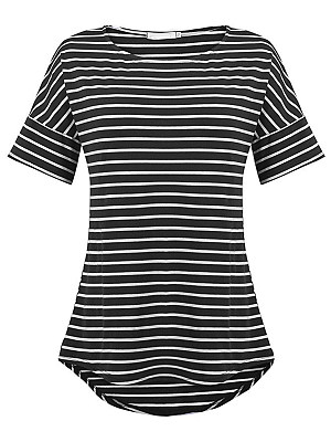 Round Neck Loose Fitting Stripes Short Sleeve T-Shirts