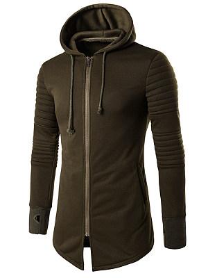 Hooded  Zips  Printed Men Coat