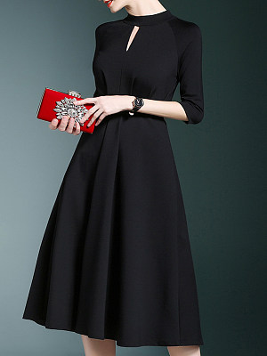 Band Collar  Plain  Polyester Evening Dresses collar_&_neckline:band collar, dress_silhouette:fitted, material:polyester, occasion:basic*event*wedding, pattern_type:plain, season:autumn*spring*winter, sleeve_length:half sleeve, style:elegant, how_to_wash:hand wash only, supplementary_matters:all dimensions are measured manually with a deviation of 2 to 4cm., length:121,shoulder:38,sleeve length:48,bust:94,waist:78,