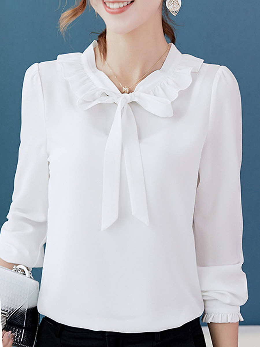 Autumn Spring  Polyester  Women  Tie Collar  Flounce Single Breasted  Plain  Long Sleeve Blouses