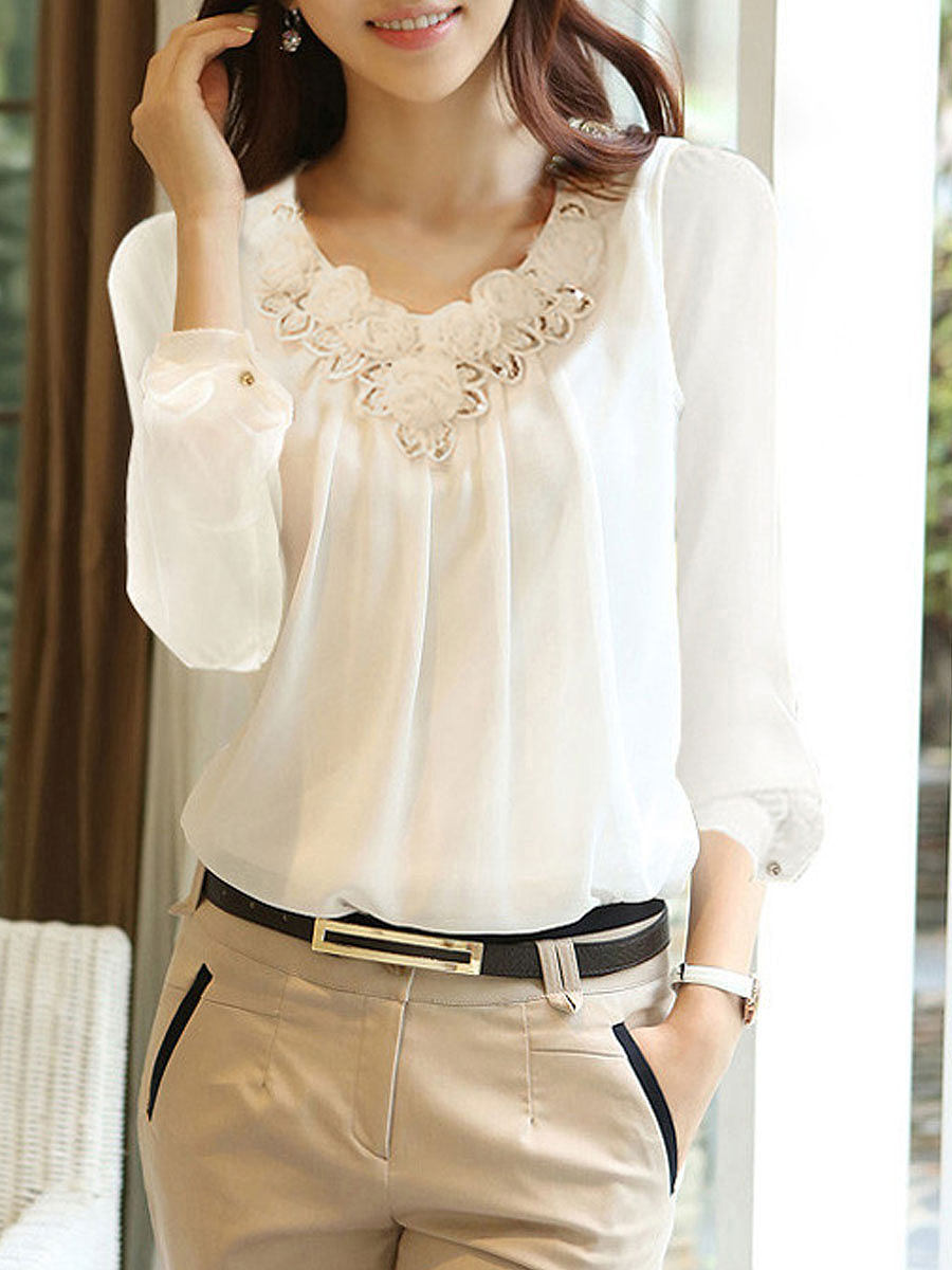 Autumn Spring  Acrylic  Women  V-Neck  Decorative Lace  Plain  Long Sleeve Blouses