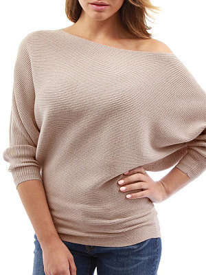 Shoulder Collar Patchwork Brief Plain Batwing Sleeve Long Sleeve Knit Pullover фото