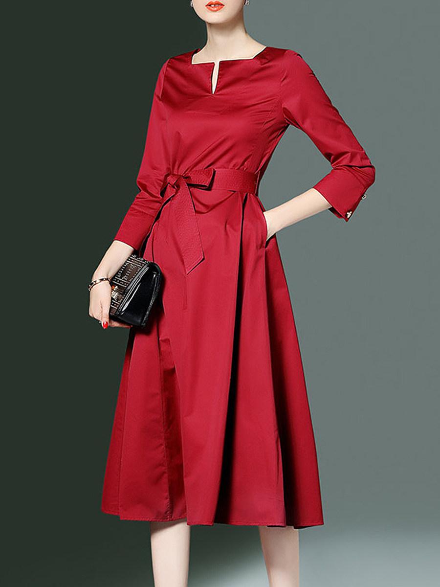 Asymmetric Neck Patch Pocket Plain Maxi Dress