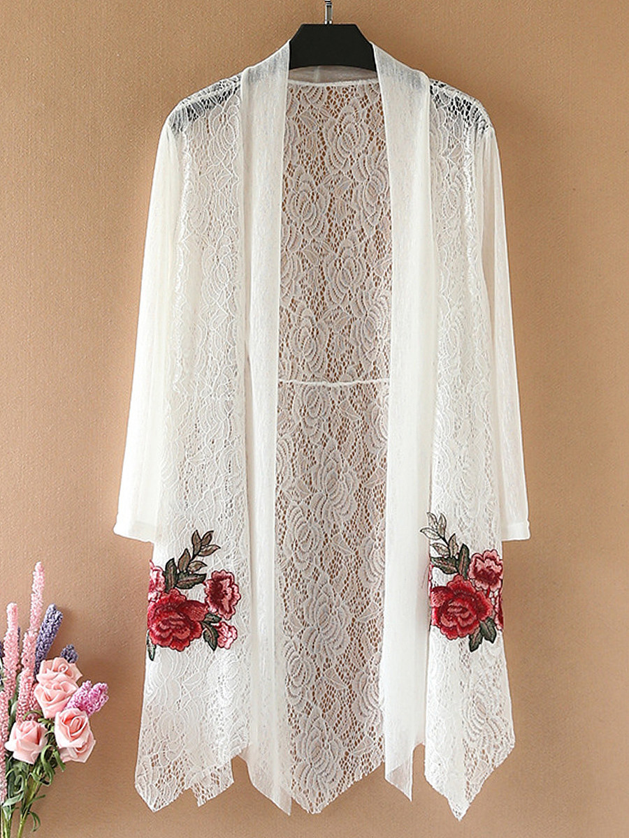 BerryLook Patchwork  Embroidery Vacation Elegant Lace Cardigans