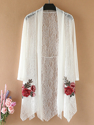 Patchwork Embroidery Vacation Elegant Lace Cardigans