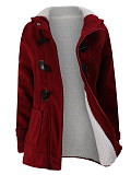 Image of Hooded Fleece Lined Patch Pocket Plain Coat