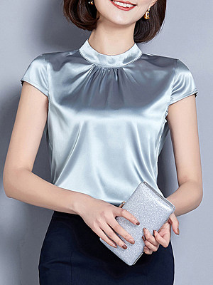 Round Neck Patchwork Elegant Plain Short Sleeve Blouse, 8461028