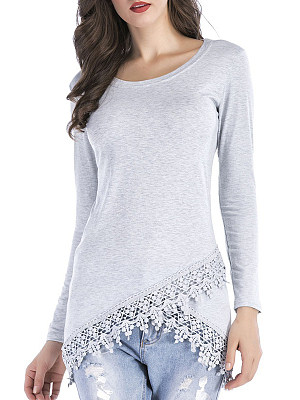 Round Neck Patchwork Elegant Lace Plain Long Sleeve T-Shirts, 8276659