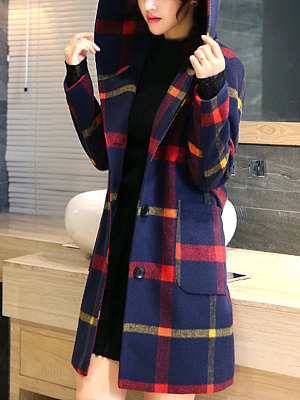 Hooded Patch Pocket Single Breasted Plaid Coats фото