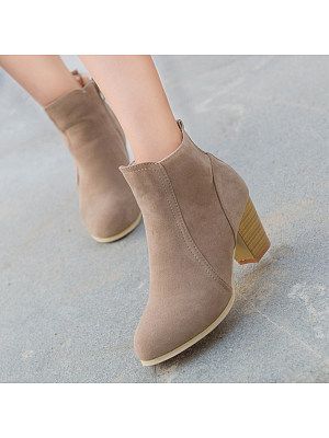 Plain Chunky High Heeled Velvet Round Toe Date Outdoor Short High Heels Boots, 5386115