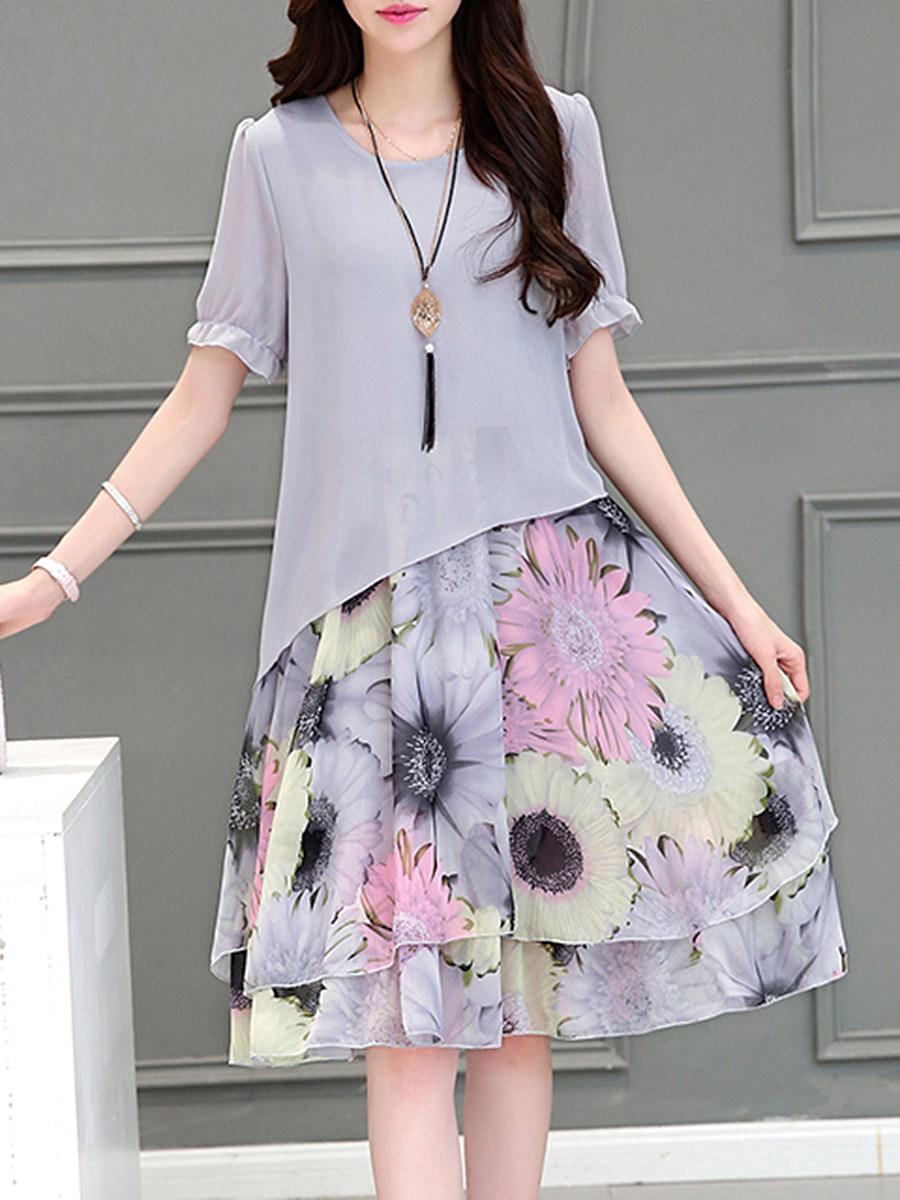 Round Neck Floral Printed Chiffon Shift Dress
