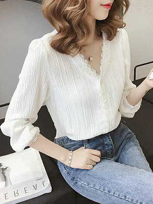 V-Neck Lace Long-Sleeved Blouses фото