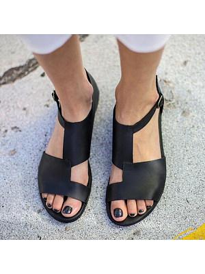 Plain Flat Peep Toe Casual Date Flat Sandals, 6208207