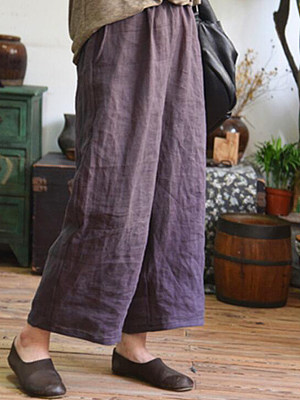 Casual Cotton And Linen Loose Nine-Point Wide-Leg Pants, 7404520