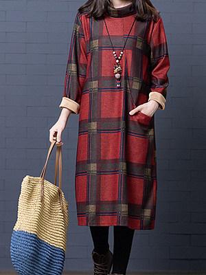Round Neck Patch Pocket Plaid Shift Dress, 9915684