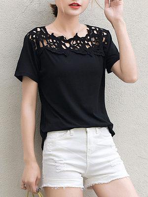 Cutout Patchwork  Plain Short Sleeve T-Shirts