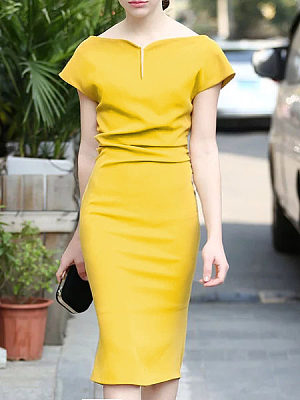 Fashion Sweet Heart Plain Bodycon Dresses фото