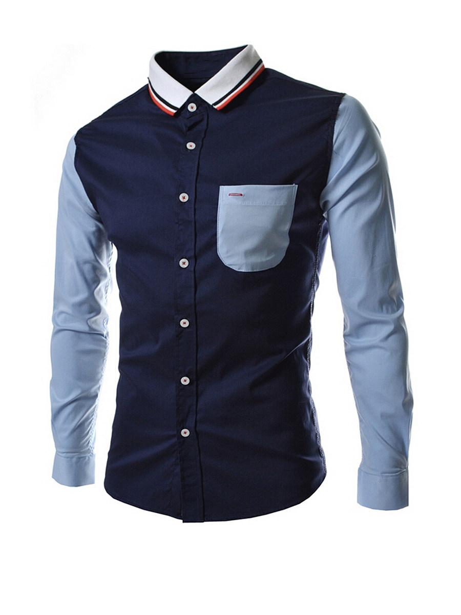 Attractive Turn Down Collar  Color Block Men Shirt