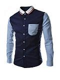 Image of Attractive Turn Down Collar Color Block Men Shirt