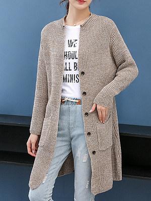 Round Neck Elegant Plain Long Sleeve Knit Cardigan, 9474421