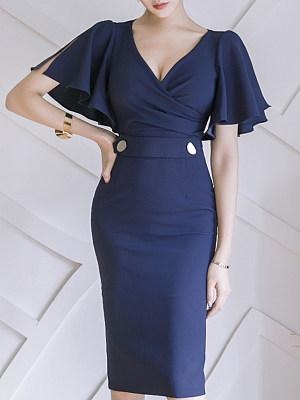 V-Neck Decorative Button Plain Bodycon Dress, 6739362