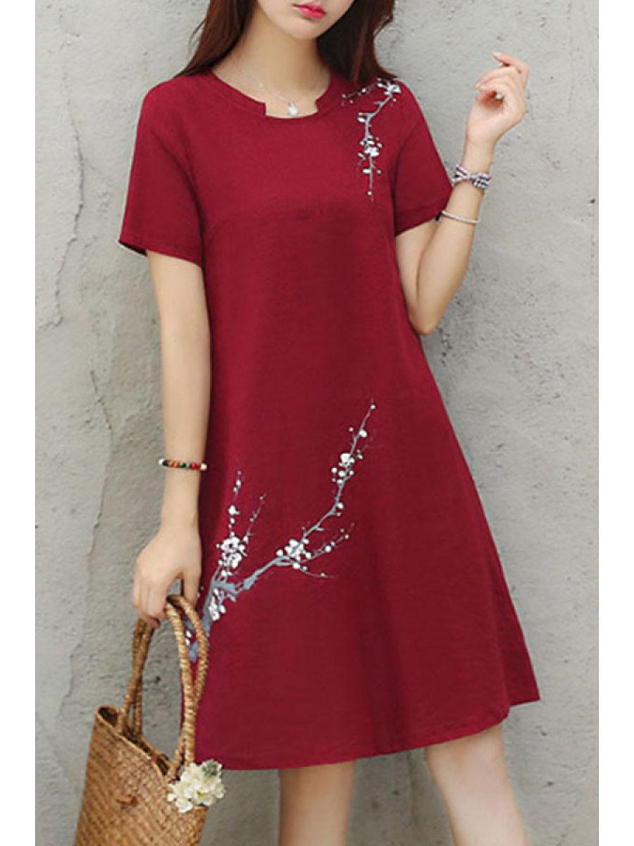 BerryLook Asymmetric Neck  Floral Printed Shift Dresses