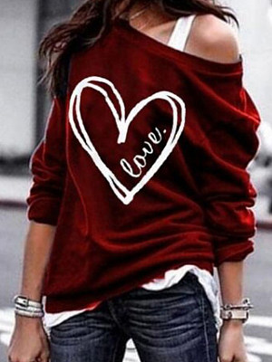 Single Shoulder Collar Patchwork Casual Printed Long Sleeve T-Shirt фото